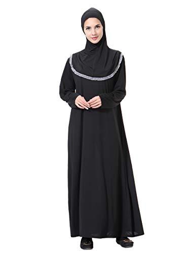 XDXART Frauen muslimischen Roben in voller Länge Hijab islamischen Abaya Maxi-Kleid Langarm Langen Mantel marokkanischen Kaftan Kaftan Kleid (Gray, L)