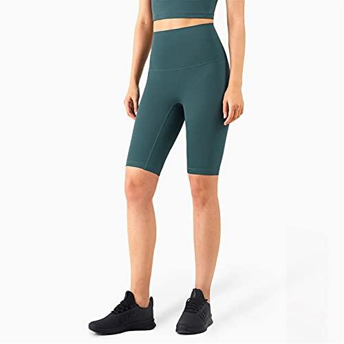 Pantalones cortos de yoga para mujeres de cintura alta. SIN COSTURA FRONTAL Pantalones cortos de gimnasio Entrenamiento en funcionamiento Naked-Feel Factness Joggers ( Color : Deep Jade , Size : S )
