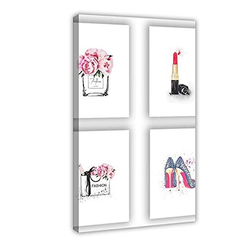 Moda mujer arte mujer regalos perfumes bolsos lápiz labial zapatos carteles e impresiones de moda lienzo arte decoración de pared cuadros para sala de estar dormitorio decoración marco
