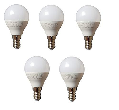 Lampadina a LED a risparmio energetico, E14, set da 5 lampadine a LED, 5 x 3 Watt, 250 lumen, luce bianca calda, 3000 K