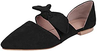 Womens Retro Mules Knot Bow Flat Sandals Pointed Toe Slip On Low Heel Dress Shoes