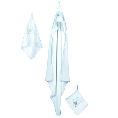 roba Handtuch Set \'Kleine Wolke blau\', 3tlg, Baby Waschset, hochwertiges Frottee, Kapuzenhandtuch, Handtuch 30x30 cm, Waschlappen zum Baden und Pflegen, mit Schafapplikation