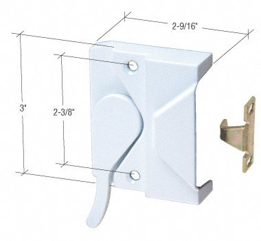 CRL Right Hand White Casement Window Lock; 2-3/8' Screw Holes