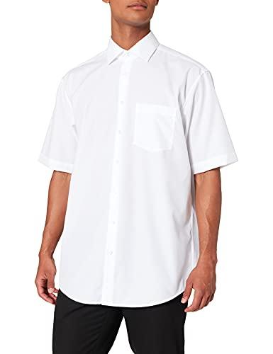 Seidensticker Herren Business Hemd Comfort Fit – Bügelfreies, legeres Hemd mit Kent-Kragen & Brusttasche – Kurzarm –100% Baumwolle ,Weiß (Weiß 01) ,40