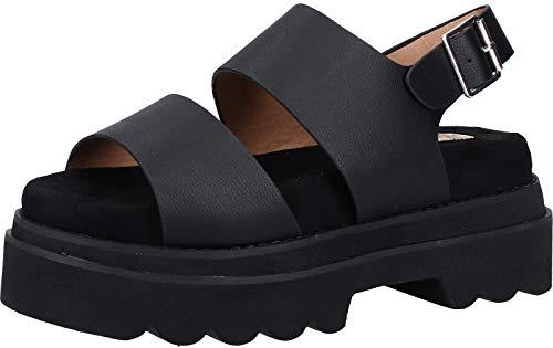 BUFFALO Sandalo Pelle con Doppia Fascia Alta Laccio alla Caviglia e Zeppa Platform Carenata