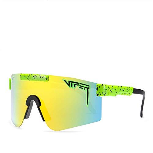 PANDA100 Original Pit Viper Gafas de sol polarizadas doble ancha espejo azul lente Tr90 marco UV400 gafas de protección (C14)