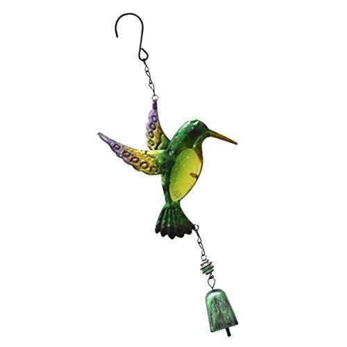 BESPORTBLE Kolibri Wind Glockenspiel Glas Vogel Wind Anhänger mit Eisen Glocke Ornament für Gartenterrasse Balkon Dekor Grün