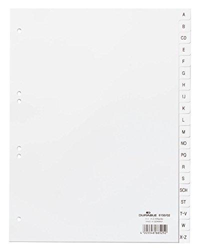 Durable 615002 Register A-Z, DIN A4 hoch) 20-teilig, weiß