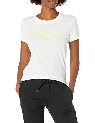 adidas Essentials - Camiseta Delgada para Mujer, Mujer, Camiseta, FRU56, Blanco/Verde señal, XL