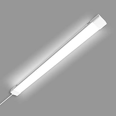 Utility LED Shop Light Fixture 2Ft 4FT with Plug,Waterproof Linkable LED Tube Light 5000K Cabinet Light,36W Ceiling Light,Closet Light for Garage Kitchen Bathroom Workbench (White, 4FT)