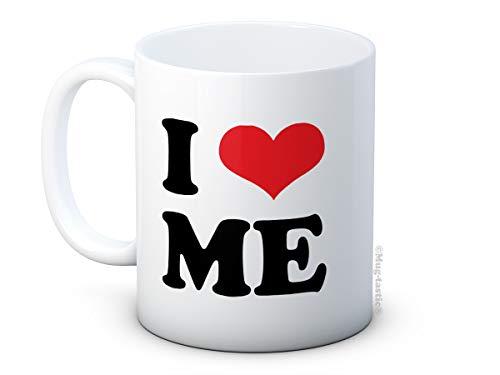 mug-tastic I Love Me - Amor Corazon Chistoso - Taza de té de Café de Cerámica