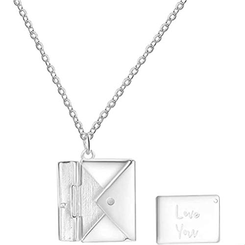 NANUNU Star Personalized Necklace, 925 Silver Envelope Pendant Necklace for Mother Daughter Love Letter Necklace Gift for Birthday