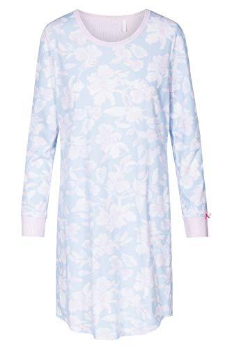 Rösch Damen Basic-Nachthemd Langarm Bigshirt in pastellfarbenem Steifen-Blumenprint und farblich abgesetzten Armbündchen aus der Serie SMART Casual, Gr. 36-50, Artikel 1884150 44 Arctic Blue