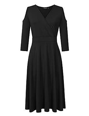 AMZ PLUS Women's Plus Size 3/4 Sleeve Cold Shoulder Flowy Casual Maxi Dress