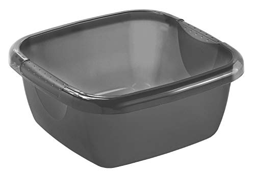 Rotho Daily Becken / Spülwanne 8l eckig, Kunststoff (PP) BPA-frei, anthrazit, 8l (34,5 x 34,5 x 13,0 cm)