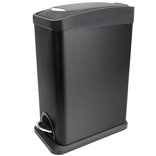 COCOONE Rectangular Slim Trash Can with Lid Soft Close and Removable Inner Wastebasket, Small Garbage Can for Bathroom Bedroom Office, Anti-Fingerprint Matt Finish, 2.1Gal/8L, Black