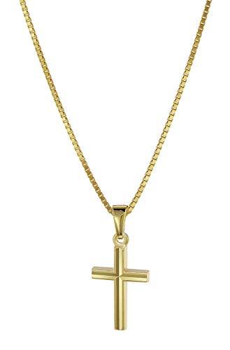 trendor Kreuz Anhänger für Kinder Gold 333 mit plattierter Halskette 08504-40 40 cm