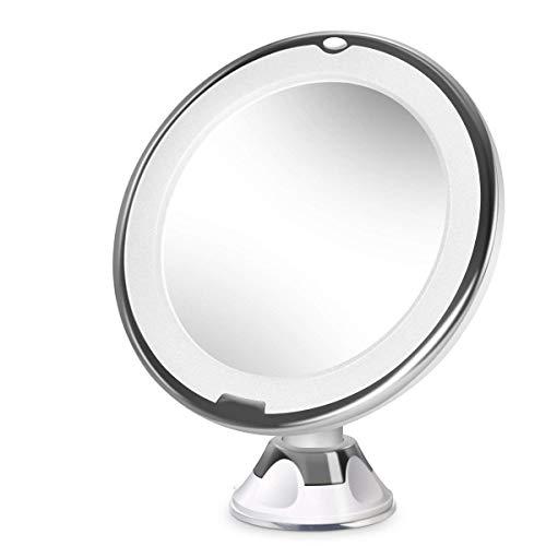 Espejo de maquillaje LED, espejo de maquillaje de doble cara, aumento 10x, espejo transparente, rotación de 360 ° y una potente ventosa que hacen que tu maquillaje sea más sofisticado