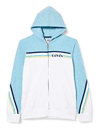 Levi's Kids LVB Colorblocked FZ Hoodie C795 Hooded Sweatshirt, Blue Moon Snow Yarn, 16 Ans Garçon