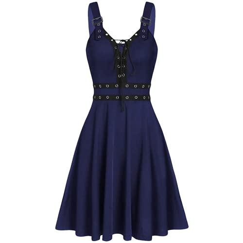 Bcshiye Vestido de steampunk gótico para mujer, sin mangas, con cordones, alto, bajo, vintage, cosplay, camisola, Azul marino/flor y brillo, Medium
