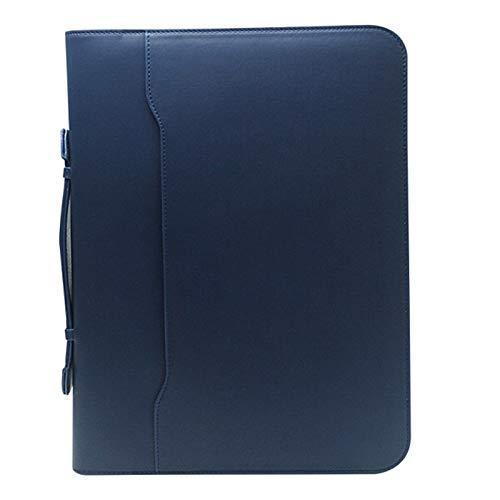 LIYANG Carpeta De Oficina Comercial Carpeta de tamaño de Letra A4 con Manual de la Caja de Archivos de Oficina de Negocios de Cuero PU (Color : Azul, Size : 260x340x40mm)