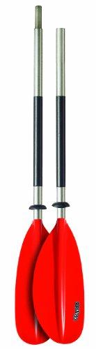Bravo KWB 220cm 2-delig aluminium gebogen kajakpeddel rood 6277060N - uitgehard mes - aluminium as - 4-delig kapot