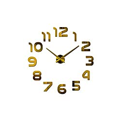 Asteria-Ashley 3D Wall Clock Large Acrylic Mirror Clocks Stickers Living Room Accessories Decorative House Clock On The Wall,Gold,47 Inch
