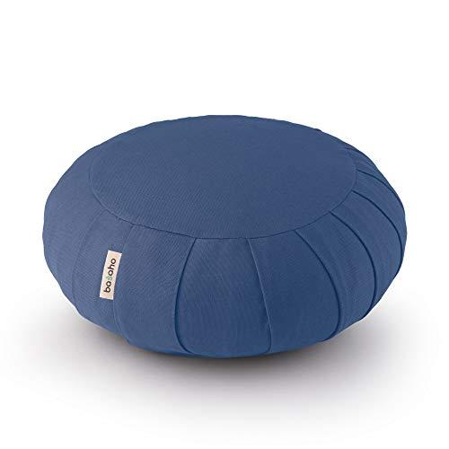 basaho Classic Zafu Cuscino da Meditazione | Cotone Organico (Certificato GOTS) | Gusci di Grano Saraceno | Rivestimento Lavabile Rimovibile (Blu Avio)