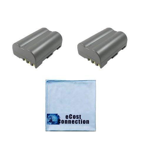 2 Replacement EN-EL3E Batteries for Nikon DSLR D300, D700, D90, D70 &More Cameras Lithium Ion and an eCost Microfiber Cloth