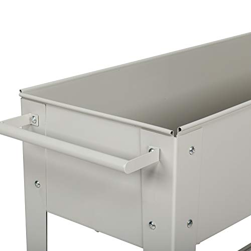 Kintness Raised Planter Box with Legs Metal Outdoor Elevated Garden Bed for Backyard Patio w/Wheels Storage Shelf