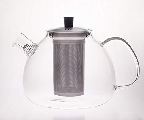Hanseküche Premium Teapot 1500 ml Glass Tea Maker - Very Heat-Resistant Teapot, Glass Jug, Tea Maker Made of Borosilicate Glass - Removable and Removable Stainless Steel Strainer and Collection Wire