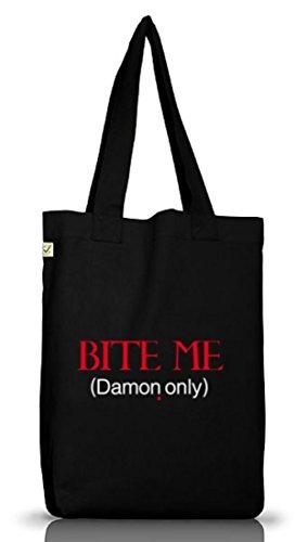 Shirtstreet24, BITE ME (Damon Only), Vampir Vampire Jutebeutel Stoff Tasche Earth Positive, Größe: onesize,Black