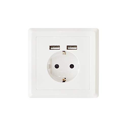 Enchufe con 2 puertos USB | Blanco | Enchufe de 250 V con 2,4 A USB | Carga todos los dispositivos móviles