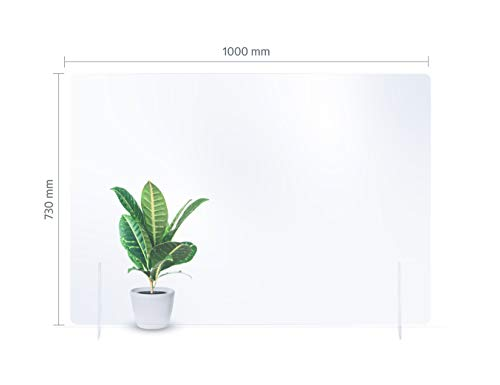 reflecto Spuckwand ohne Durchreiche | 100cm oder 73cm breit | Thekenaufsatz als Nies- und Spuckschutz gegen Tröpfcheninfektionen | eine transparente Kunststoff-Barriere (100 x 73 cm)