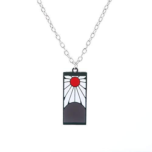 Demon Slayer Anime Necklace Hanafuda Pendant Tanjiro Kamado Cosplay Band Ring Jewelry (Black)