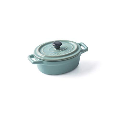 HUIJUNWENTI Keramik-Auflauf mit Deckel Pudding Kürbissuppe Matte Doppel Ohr Kochtopf neuen Bone China Matte Verglaste (Color : B)