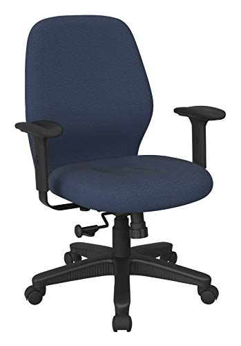 Office Star Ergonomic Mid Back Office Desk Chair with 2-to-1 Synchro Tilt Control and Adjustable Soft Padded Arms, Diamond Blue Galaxy Fabric