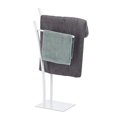 Relaxdays, weiß Handtuchständer mit 2 Stangen, Freistehender Handtuchhalter eckig, Badetuchhalter HBT 88 x 43 x 24 cm, Standard
