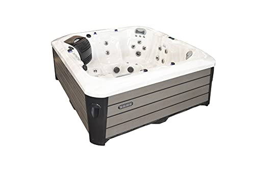 Hot Tub Spa – Outdoor Portable Hot Tubs Spas - The Deluxe Series - 49 Stainless Steel Jets, 5 Seats and 1 Lounge Chair, Bluetooth Speakers, LED Lights, Waterfall, and Insulating Cover
