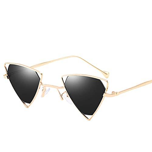 AMFG Hombres y mujeres Gafas de sol Metal Pequeño Marco Moda Triángulo Hollow Gafas de sol Tienda Stere Gafas de sol salvajes (Color : A)