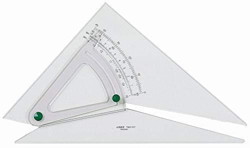 Linex LXB1120/10B - Escuadra y cartabón (ajustables, de precisión 0,5 grados 250 mm) transparente
