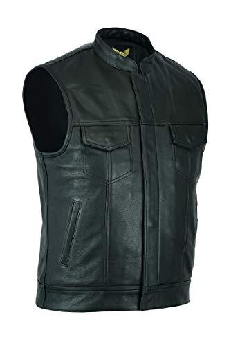 Leatherick SOA Gilet da motociclista in vera pelle da uomo in pelle per equitazione e gilet con taglio alla moda, con tasche profonde (4XL - EUR64)