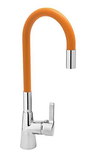 Fala, rubinetto per lavello, flessibile, colorato (bianco, rosso, arancione, verde), miscelatore cucina a leva singola, Arancione
