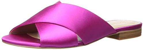The Drop Women's Bristol Cross Strap Flat Sandal, Fuchsia, 6