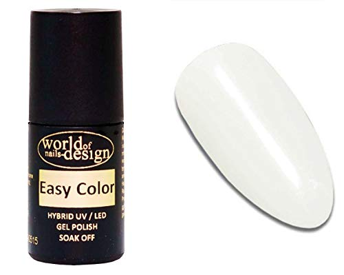 World of Nails-Design Easy Color LED/UV Polish Gel, Hybridlack, Soak Off Gel ablösbar- Naturweiß, off white 6 ml