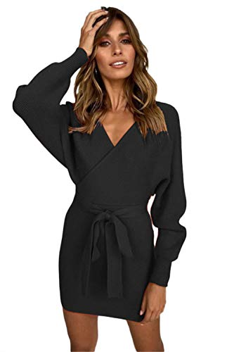 L'ASHER Women's Sexy Cocktail Batwing Long Sleeve Backless Mock Wrap Knit Sweater Mini Dress Black