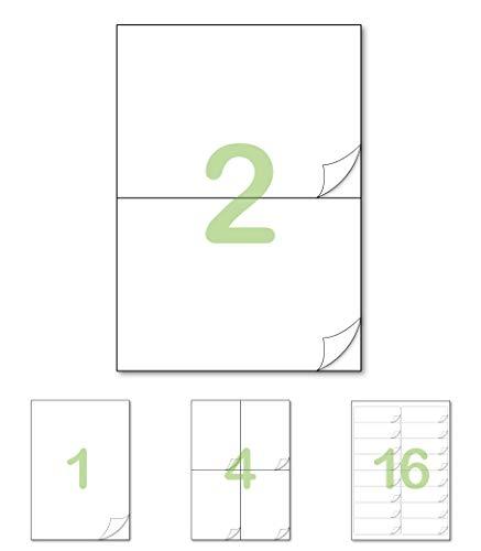 Gluetack –Etiquetas Adhesivas 210 x 148'5mm - A4 | 25 Folios Adhesivos-2 Etiqueta/Hoja–50 Etiquetas | Papel de Pegatina para Imprimir