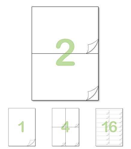 Gluetack –Etiquetas Adhesivas 210 x 148'5mm (A4)–25 Folios Adhesivos-2 Etiqueta/Hoja–50 Etiquetas - Papel de Pegatina para Imprimir con Adhesivo Superpermanente
