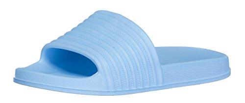 BRANDSSELLER Damen Badepantolette/Badelatschen/Badeschuhe/Freizeitschuh/Sommerschuh - Farbe: Blau - Größe: 38