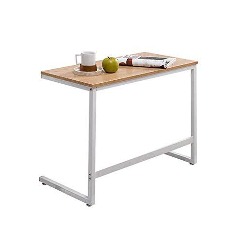 DERUKK-TY Mesa auxiliar para sofá, mesa con forma de C, soporte para portátil, mesa auxiliar con bandeja de café, portátil, tableta junto a la cama, sofá portátil, estación de trabajo, color blanco